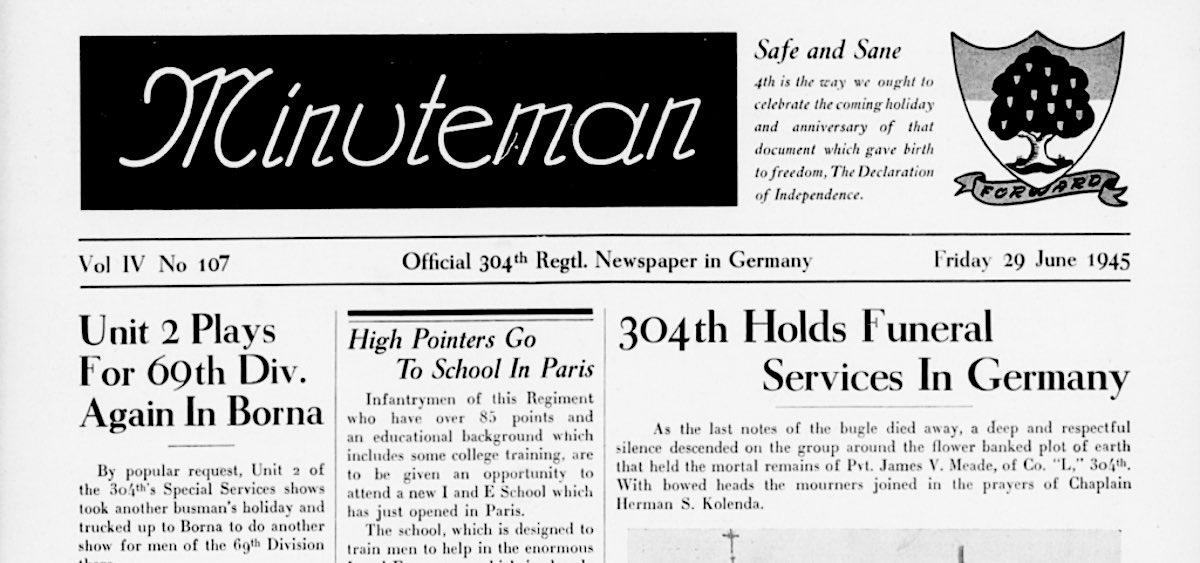 """""""Minuteman"""" 1945, amerikanische Militärzeitung im Staatsarchiv Altenburg"""