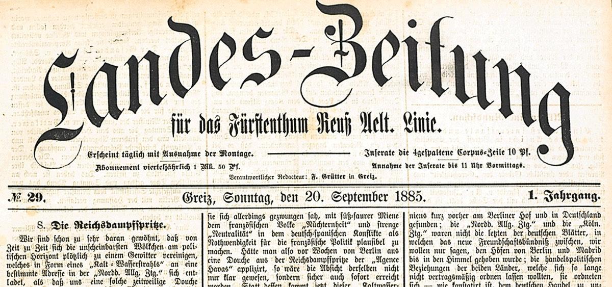 Landes-Zeitung für das Fürstenthum Reuß Aelt. Linie im Staatsarchiv Greiz