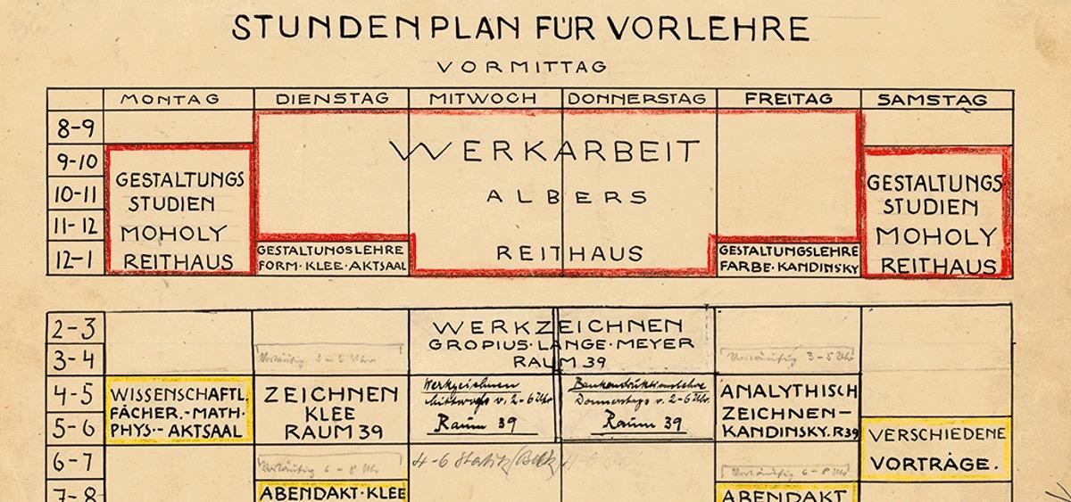 Stundenplan für Vorlehre, Bestand Staatliches Bauhaus Weimar im Hauptstaatsarchiv Weimar